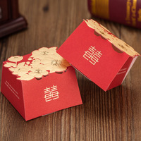 2014 Hot Sale Fresshipping golden flowers set wedding candy box bags favour sugar gift box CB3056 Favor