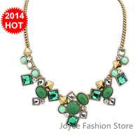 Min Order $10,New 2014 Vintage Fashion Statement Necklaces for Women,sweet Luxury geometry Rhinestone Beads Gem necklaces,N60