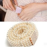 All-match pearl rhinestone belly chain women's belly chain elastic waist band cummerbund fashion female belt