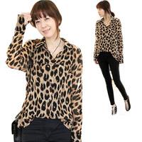 Sexy Women Long Sleeve Loose Leopard Print Shirts Button Down Blouse Tops E1340
