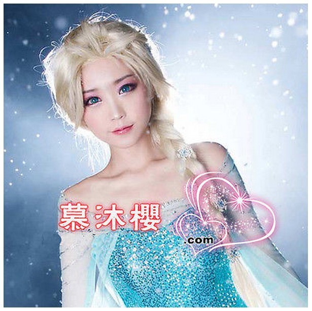 In Stock New Movies Frozen Snow Queen Elsa White Weaving Braid Cosplay Wig 70cm Cheap Synthetic Hair Wigs(China (Mainland))