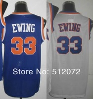 New York #33 Patrick Ewing Men's Authentic Hardwood Classics Throwback Home White/Road Blue Basketball Jersey