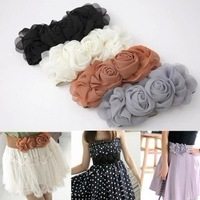 Rose buckle ultra wide women's cummerbund fashion elastic waist belt female all-match belt decoration female