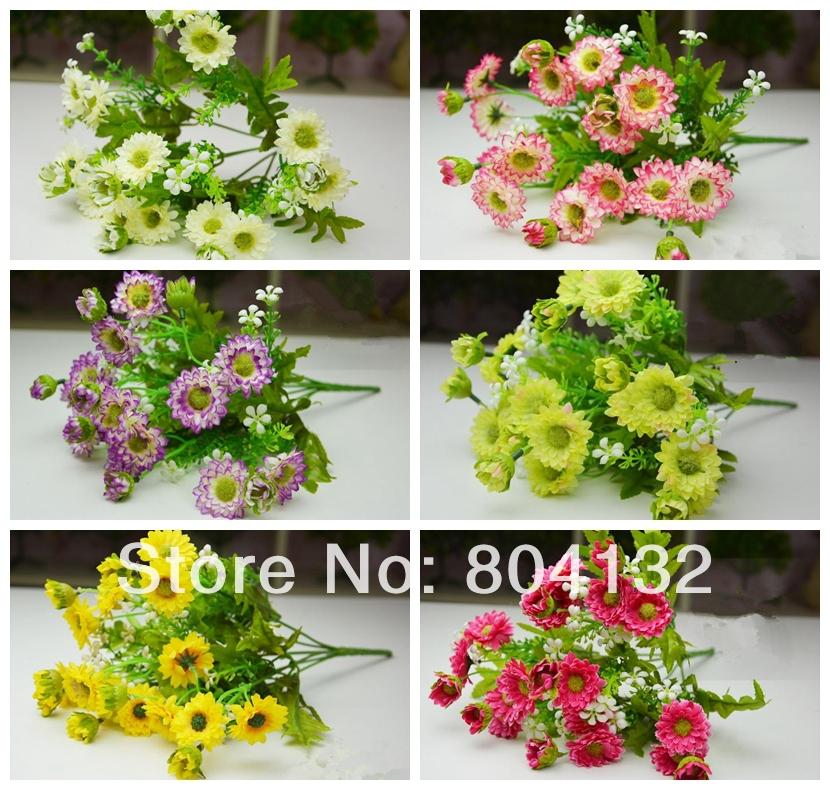 "20Pcs/lot 35cm/13.78"" Length White/Hot Pink/Violet/Pink/Yellow/Gree Artificial Simulation Small Chrysanthemum Gerbera Daisy(China (Mainland))"