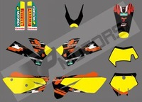 New style (0404 BULL YELLOW) TEAM GRAPHICS & BACKGROUNDS DECALS FOR KTM SXF MXC SX EXC 2005 2006 2007