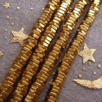 Hot!!! 380pcs/lot 4x1mm Gold Hematite Hexagon Loose Beads Free Shipping New!!!