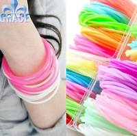 60pcs plain Mutilcolor 3mm Silicone rubber Friendship Bracelet Wristbands Jewelry Hot Gift Wholesale Bulk free shipping