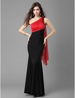 Fashion Sexy Red Black Inset One Shoulder Evening Dress Party Prom Gowns @bls749
