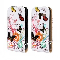 Printed Flower flip leather case for Motorola moto X Wholesale 100pcs/lot
