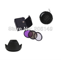 52mm UV+CPL+FLD Lens Filter+lens cap+len hood for Nikon D3100 D5000 D5100 D7000  free shipping