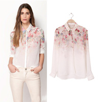 Women Casual Shirt Floral Style T-Shirt Chiffon Blouse Tops Lapel Career Shirt Free&DropShipping