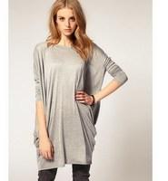 New 2014 Autumn Casual Women Lady Long Loose Bat T Shirts Tops Tees, Black, Gray, S, M, L, XL