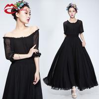 Hot sale new 2014 summer chiffon one-piece dress half sleeve o-neck expansion  chiffon full dress free shipping