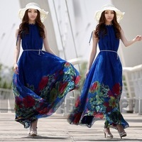 Free shipping Fashion summer blue flower chiffon lacing one-piece long dress ruffle doll  ultra
