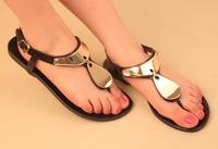 2014 korean style lady concise sandal roman  flat heel flip flops jelly shoe   free shipping