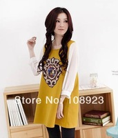 Free shipping new arrival pearl mirror pattern long sleeve dress for pregnant women a9109