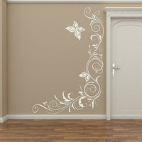 Beautiful Corner Flower Vinly Wall Decor Wall Sticker Home Decor