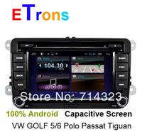 2014 pure Android 4.1 Car DVD Capacitive Screen for VW Golf 5 6 Passat Jetta Tiguan Touran Polo SKODA Octavia SEAT Altea Leon