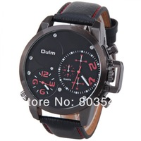 2014 New arrival fashion Oulm 3182 Watch Men Quartz Watches with Dual Movt Design Analog Round Dial and Leather wristwatch