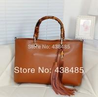 Vintage Women Handbag Genuine Leather Women Bags Bamboo Handle Designer Brand Tote Shoulder Bag Crossbody Tassel Bag Brown
