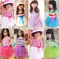 Free shipping 5pcs/lot 2013 Girl Puffy Dress Tutu dress Dancing clothing Priness Children Dress Rainbow striped Dress/Wholesale
