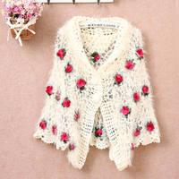 Autumn high quality elegant cutout handmade crochet cape outerwear sweet rose sweater