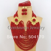 Marvelous African Wedding Jewelry Sets Coral Beads Jewelry Set Nigerian Wedding African Beads Jewelry Set Free Shipping CNR155