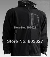 2014 New brand winter /autumn Men's hot sale outdoor WINDSTOPPER SOFTSHELL hood removable Coats Jacket's plus size No807 Black