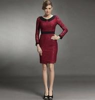 Focus juese meihekoushi 2014 spring fashion ol hydrotropic V-neck cutout lace slim hip skirt long-sleeve dress female