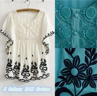 New 2014 Summer Women Blouse Vintage Flower Embroidery Cotton Blouse,Batwing Sleeve Shirt women,blusas femininas 2014 Tops