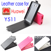 Up Down Open Huawei y511 Leather Case Pouch Cover Case For Huaweiy511  Moblie Phone Free Drop Shipping