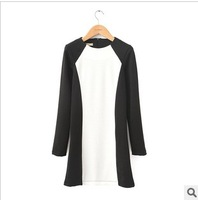 Spring and autumn fashion women's elegant color block slim hip long-sleeve basic skirt plus size one-piece dress  free shipping