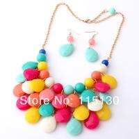 2014 New Fashion Colorful Bubble Bib Necklace For Women Bohemia Acrylic Beads Choker Necklaces & Pendants Jewelry Sets Wholesale