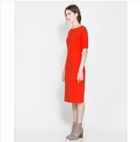 Autumn and winter women fashion solid color slim medium-long basic skirt plus size short-sleeve dress  free shipping