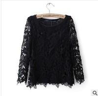 Autumn and winter women fashion elegant cutout crochet patchwork loose basic shirt plus size lace long-sleeve shirt