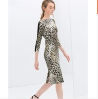2014 spring and summer women's fashion vintage leopard print slim hip basic skirt plus size one-piece dress  ,free shipping