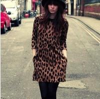 Autumn and winter women fashion leopard print peter pan collar slim hip basic skirt plus size long-sleeve dress  free shipping