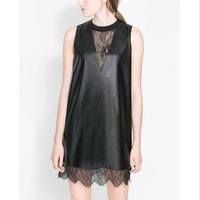 2014 spring and summer women's fashion lace patchwork leather skirt tank dress loose plus size one-piece dress  free shipping
