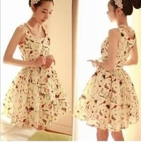 South Korea retro palace waist sleeveless vest dress printed chiffon free shipping