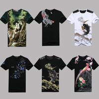 Free shipping plus size XXL XXXL 4xl 5xl 6xl Chinese style o-neck short-sleeve T-shirt print short-sleeve slim men's clothing