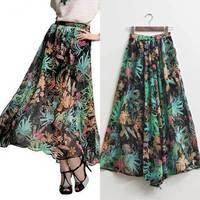 2014 Summer Women fashion Hawaii irregular print drape two sides Open fork chiffon skirt bohemia beach long skirts maxi skirts