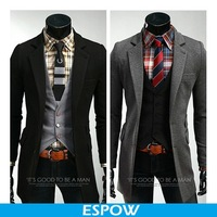 New Long Blazer For Men royal blue and Grey Vintage Suit 2014