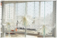 65*175cm French Country Embroidered Blue Roses Balloon Shade Sheer Voile Cafe Kitchen Curtain E015