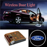 New 2pcs Adhesive Wireless Car Vehicle Door Courtesy Lights Projector Shadow Logo with Magnet for Ford All Models No Drilling