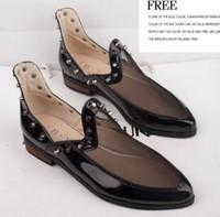 2014 women's spring fashion shoes fashion pointed toe gauze single shoes cool rivet casual shoes size