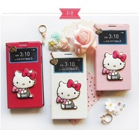 2014 new 3d Cute Hello Kitty Leather Case for samsung galaxy note 3 iii n9000 case wallet hellokitty lovely cover Free shipping