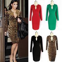Hot European and American big stars temperament Slim Leopard Dress,Evening Elegant Dress,Party dress,club dress