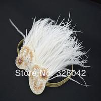 Trail order new 2014 girl fashion bling elastic Headband princess feather headwear Baby kids Hair Accessories 12pcs/lot