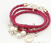 Free shipping pulsera de cuero hot sale pu rope jewelry coin pendant 8 colors bangle fashion fuax leather bracelet one piece