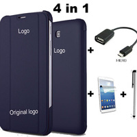 4 in 1 10 color pu stand leather case for samsung galaxy Tab 3 T210 T211 T2100 P3200 + Screen protecotor + Stylus + OTG cable